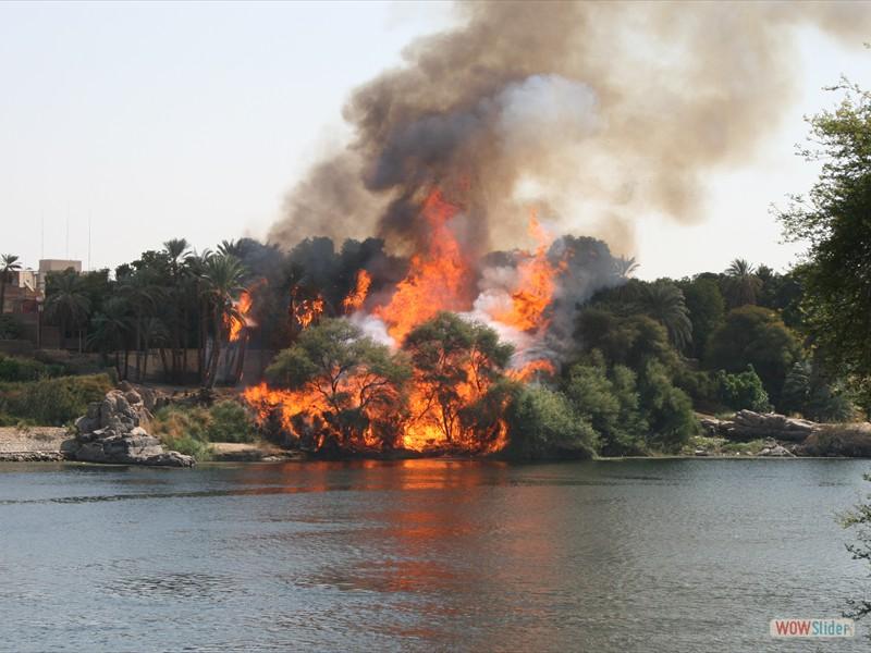 Fire on Elephantine Isalnd